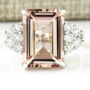 Large Morganite Women Gemstone Ring